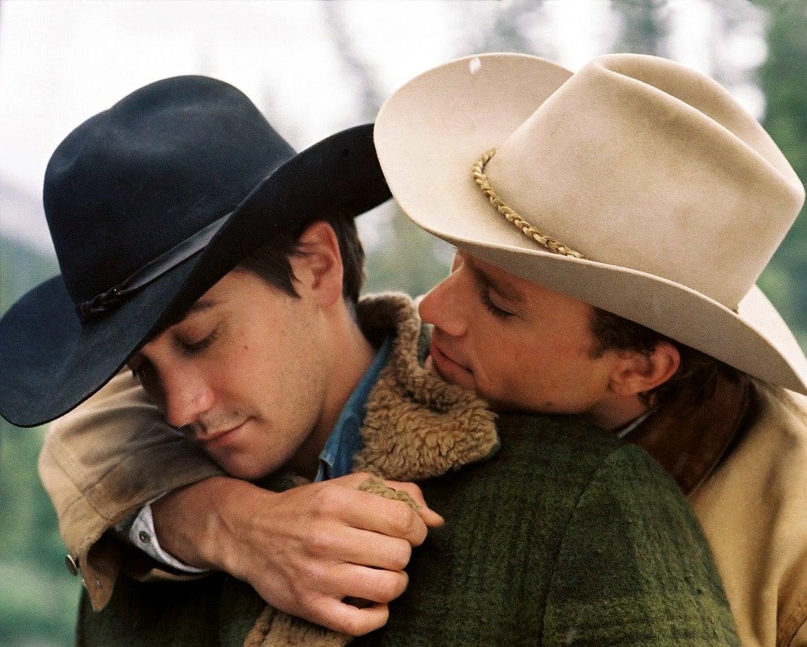 Jake Gyllenhaal (Jack) and Heath Ledger (Ennis) in Brokeback Mountain, 2005.
