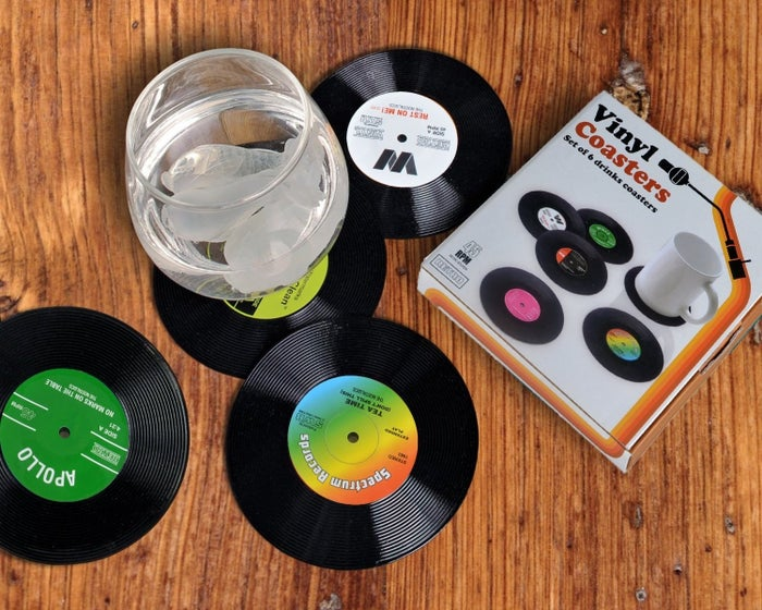 "The set includes six coasters, which feature a rubber strip to keep them from slipping. Promising Review: ""These are super cute, from the vintage inspired box they come in, to the cute names of the songs on the records. I love the weight of them, and the size. They're just really fun, and people love them."" —BeanGet them from Amazon for $9.99 or Walmart for $14.33."