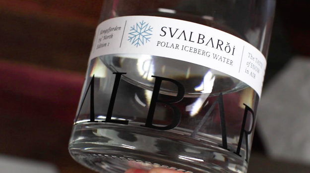 Then, the water expert busted out the pièce de résistance — Svalbardi — 1,500-year-old polar iceberg water (no joke) packaged in a bottle. It costs $150!