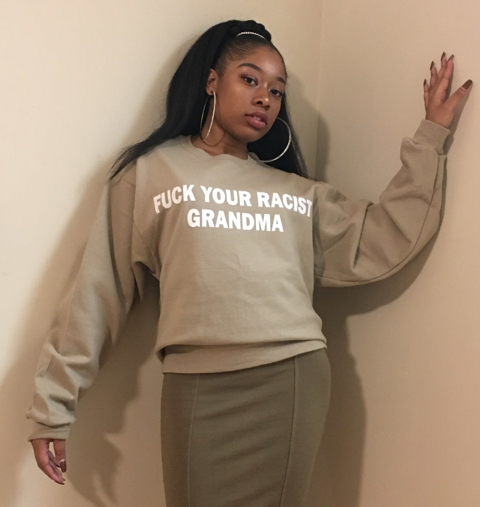 "It reads ""Fuck your racist grandma."" BLOOP!"