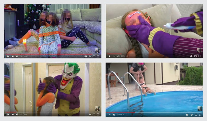 Screenshots showing examples of removed videos (not necessarily from the creators named in this piece).