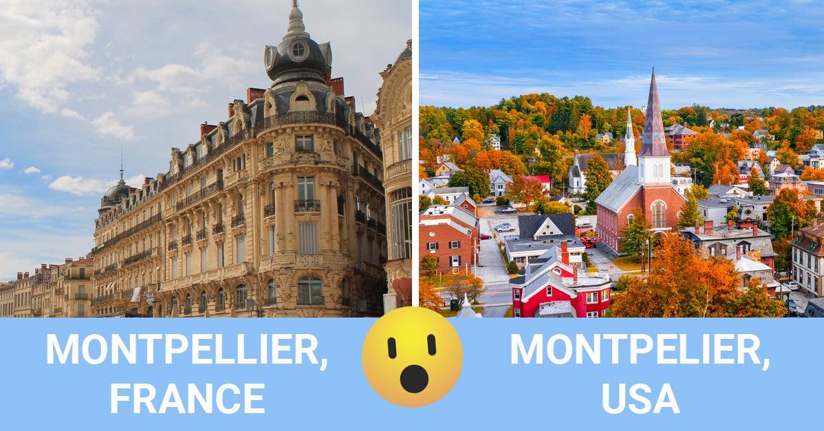 12 villes qui existent en France ET aux États-Unis