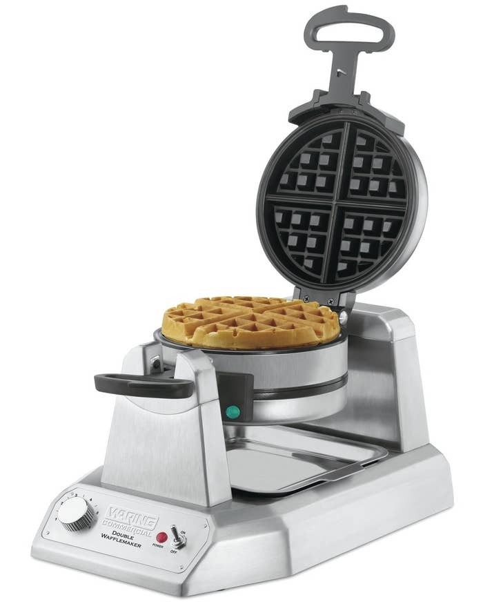 "It includes a six-setting browning control knob to ensure each waffle is cooked to fluffy perfection, plus it has nonstick coating for quick food release and easy cleanup. I'm not trying to make cleaning a workout.Promising review: ""This waffle iron is fantastic. It really meets or exceeds the Amazon description. In my humble opinion, this iron makes waffles as well as some of the 'pro' machines at restaurants where we've eaten. The amount of browning/doneness is easily adjusted with the front knob. Being able to make two waffles at a time in only four to five minutes is a huge benefit."" —RoseGet it from Amazon or Jet for $78.34."