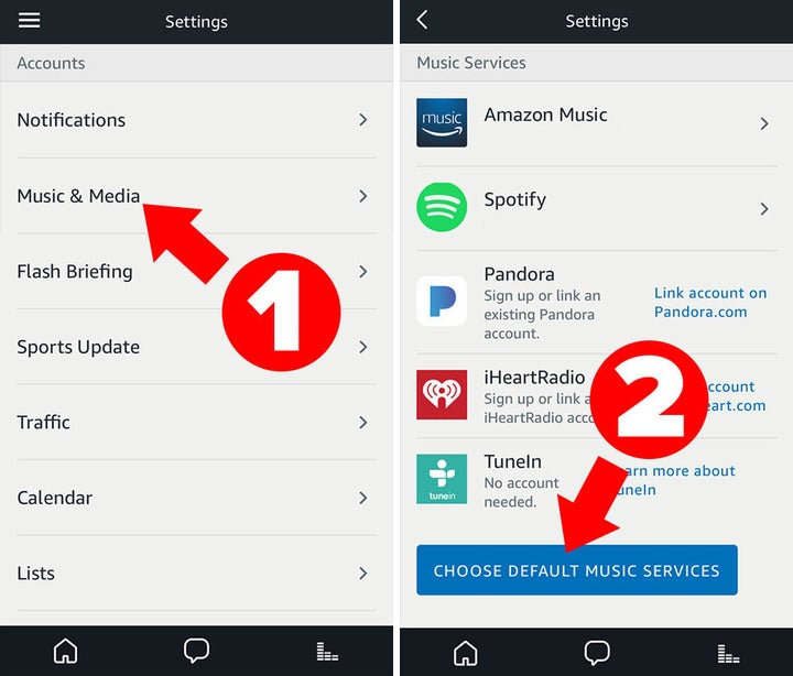Before you use the music alarm feature, make sure you've set your default music service in the app.