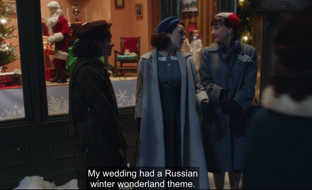 But the sweetest Gilmore Easter egg in Mrs. Maisel has to be Midge's wedding. If you recall, it had a Russian winter wonderland theme.