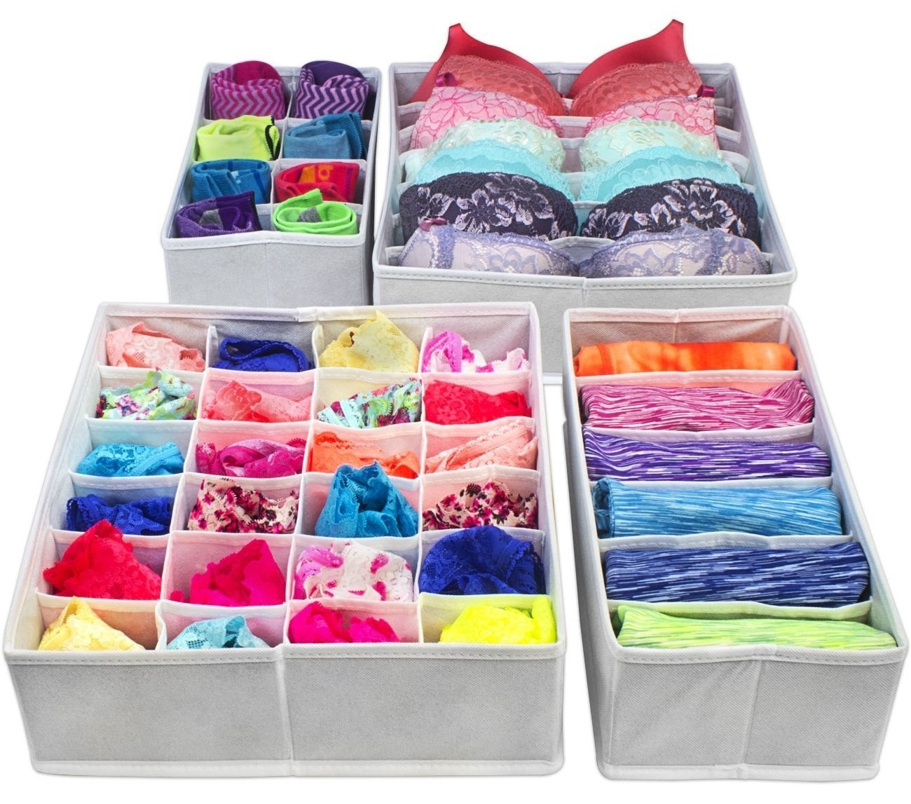 """Promising Review: """"These foldable draw dividers are great when you want to get your draws organized. I had all my garments all over the place in my drawer. This is so easy. You just open the drawer and find what you want. It's also so easy to take your garments out of the dryer and just stick them in the little square box! So fast and easy."""" —Demery DonovanGet it on Amazon for $10.99."""