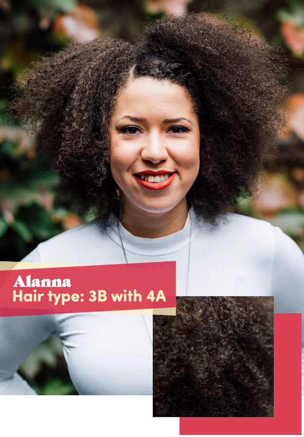 "That brings us to Alanna, a lover of twist extensions who hadn't had a trim in ""forever."" She also had some heat damage and loss of curl pattern from getting her hair blown straight every now and then."