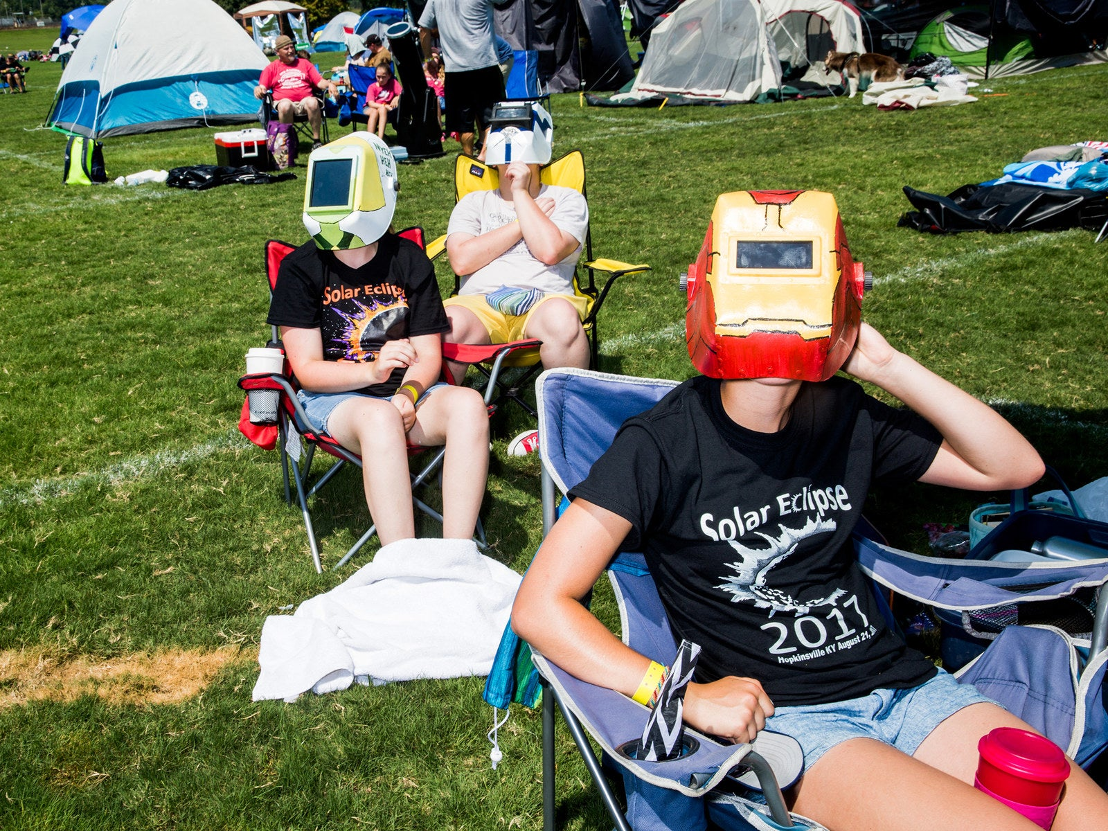 Residents and visitors of Hopkinsville, Kentucky, look on at the total solar eclipse on Aug. 21.
