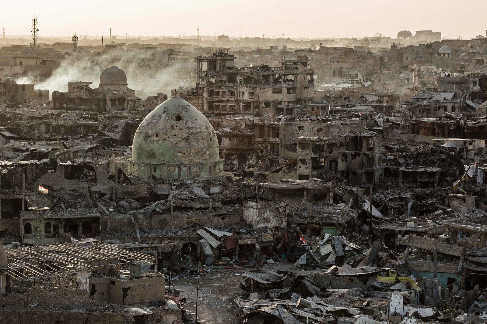 The city of Mosul, Iraq, is seen in ruins following an ongoing conflict to retake the city from ISIS, on July 14.