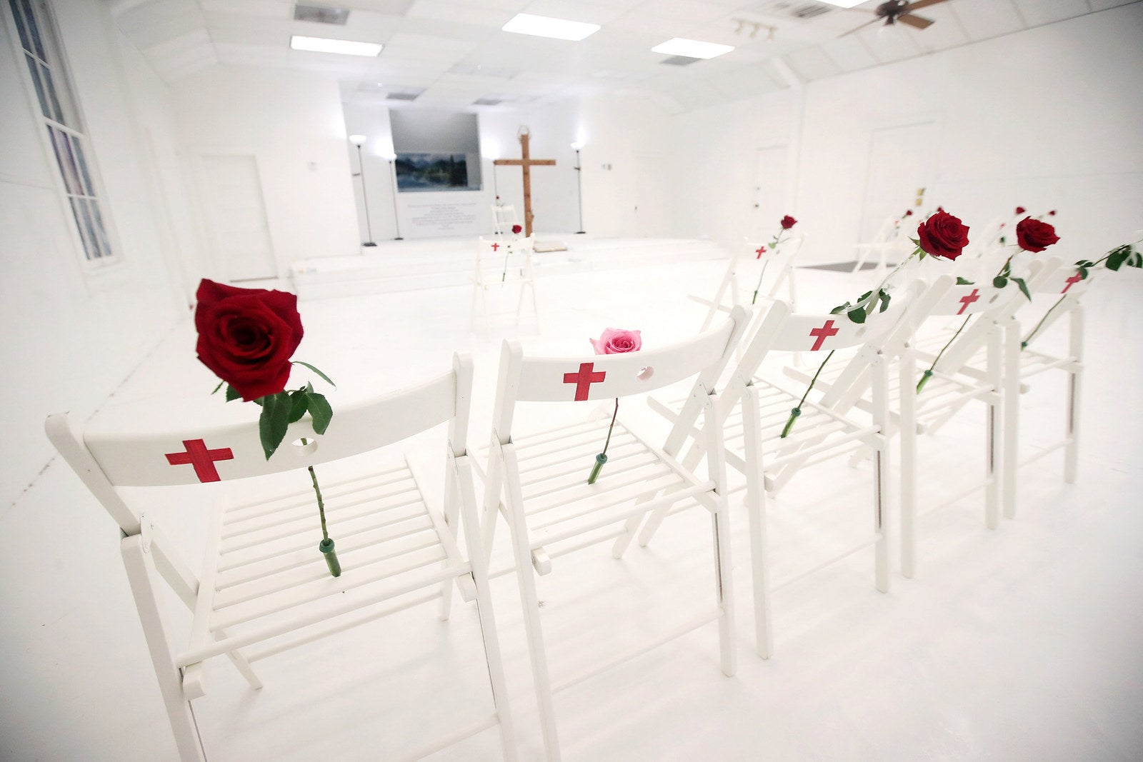 The First Baptist Church of Sutherland Springs was turned into a memorial to honor those who died on Nov. 12, in Sutherland Springs, Texas, when a gunman opened fire and killed 26 people. Each chair is placed at the location in the room where the victim died.