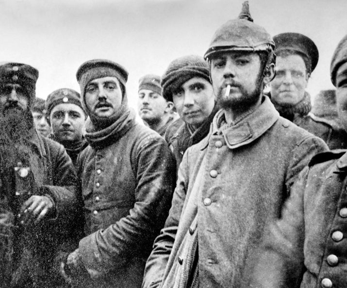 German soldiers made the first move by delivering a chocolate cake to the British line along with a note asking for a ceasefire so the Germans could hold a concert. The British soldiers agreed. Troops from both sides sang songs and traded jokes along the entire 27-mile length of no-man's land, and even took part in friendly football matches.