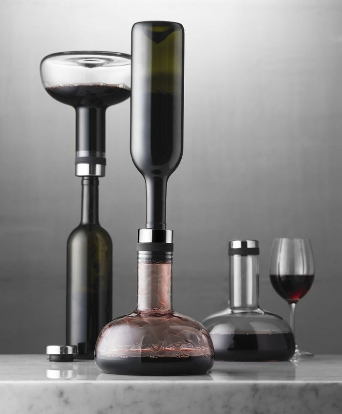 """All you have to do is press the decanter onto the top of a wine bottle, flip it over, and watch the magic happen! Then you can serve straight from the decanter or flip once more to serve from the original bottle.Promising review: """"There is a huge, very noticeable difference between relatively young wine decanted with this unit and a non-decanted bottle. It's fun to use and very effective. This was a nice recommendation from the proprietor of our local wine bar."""" —Glenn NeilsonGet it from Amazon for $49.95."""