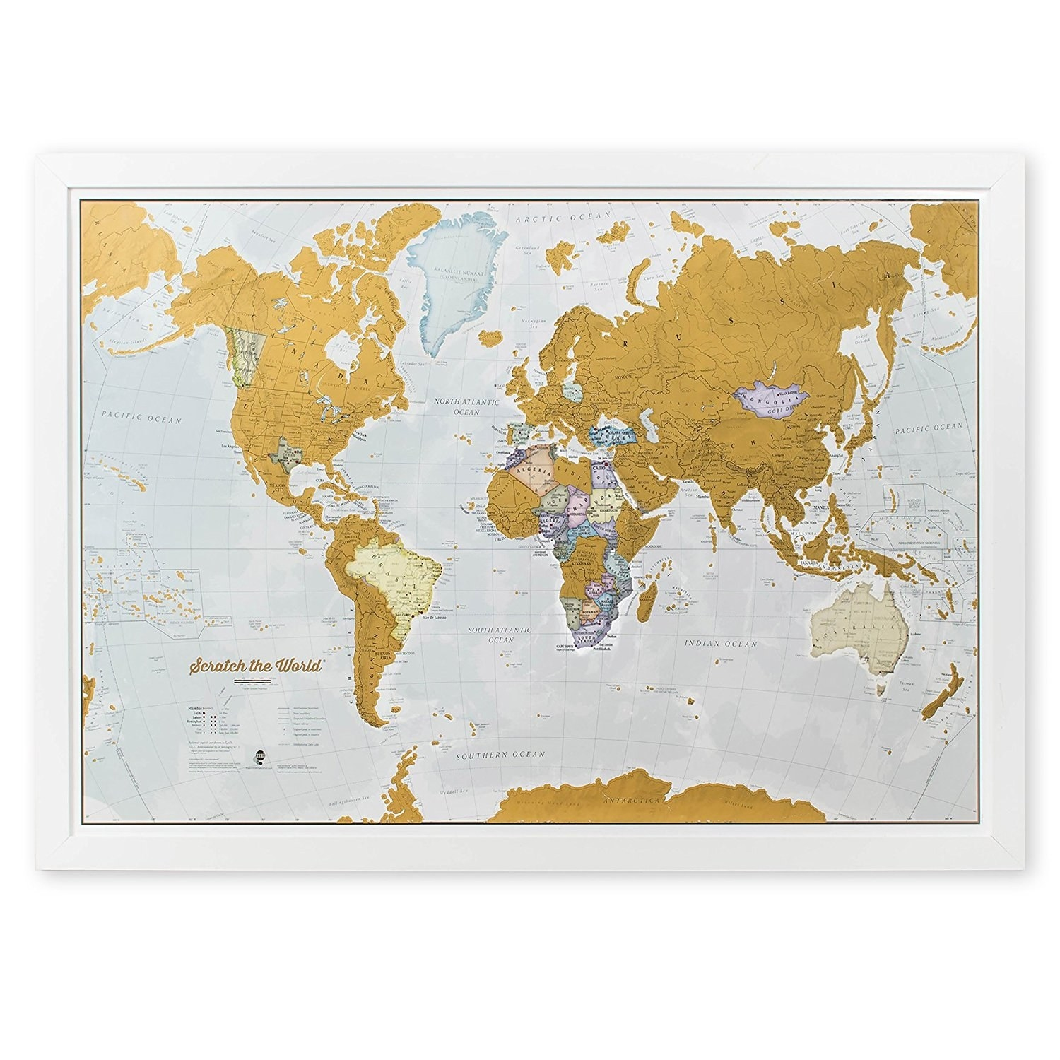35 gifts for people who love to travel a beautifully detailed world map designed to let you scratch off and mark all the places youve been gumiabroncs Image collections
