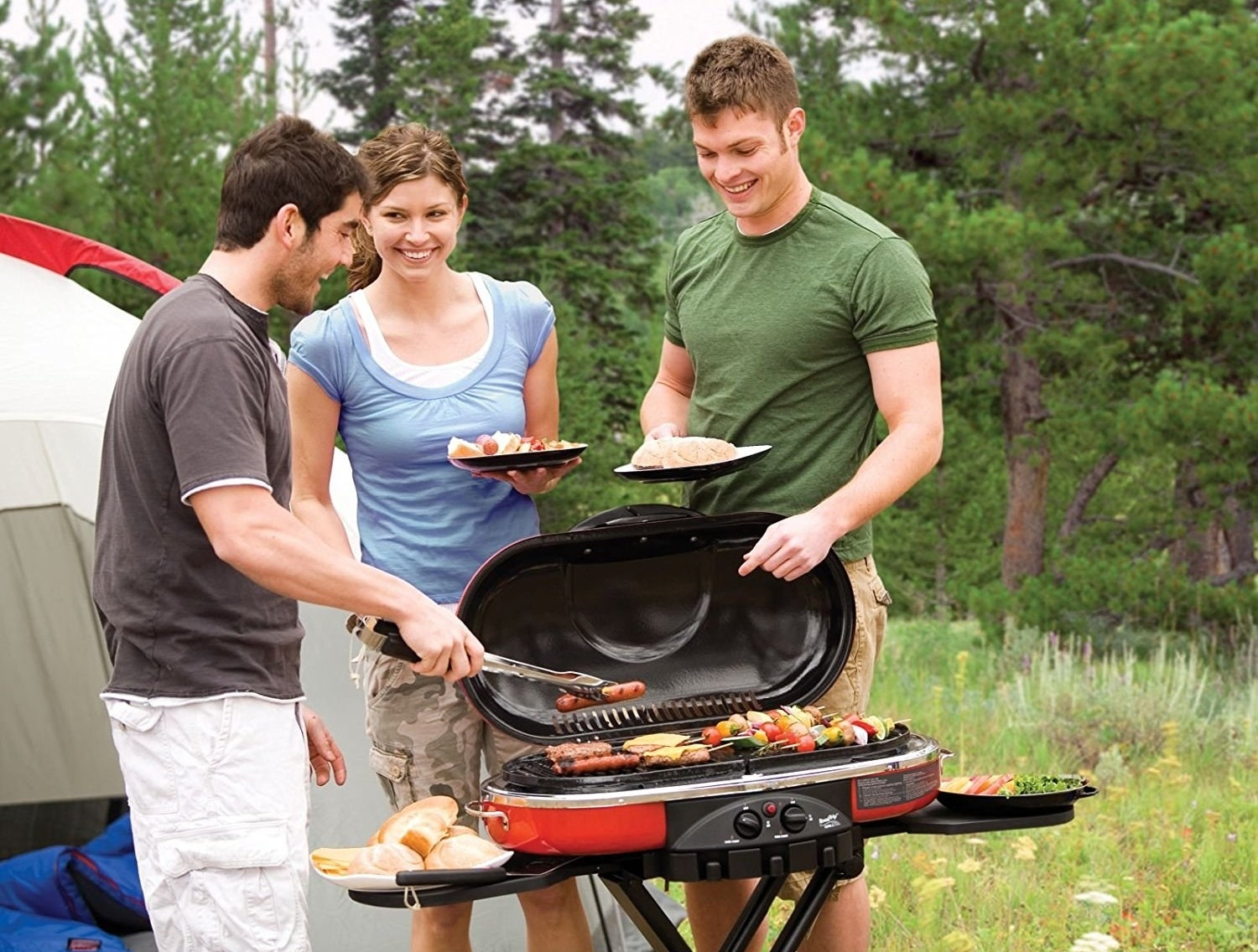 """Delivers 20,000 BTUs of heat across 285 square inches of grilling surface. Instastart button ignites grill without the need for a match or lighter. Easily folds to a transportable, compact size.Promising review: """"Bought for a gift for my hubby and he loves it. He can grill our whole family's dinner when we camp and yet it's so compact, that it stores very easily. Just fold it up!"""" —HeatherGet it from Amazon for $146.33+ (available in eight colors)."""