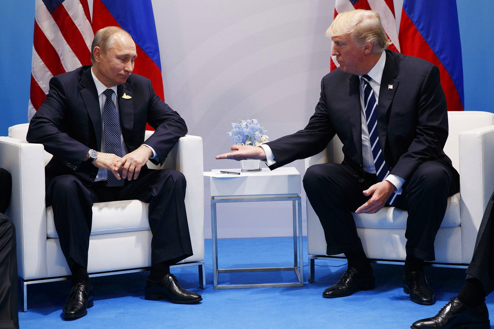 President Donald Trump meets with Russian President Vladimir Putin at the G20 Summit on July 7, in Hamburg, Germany.