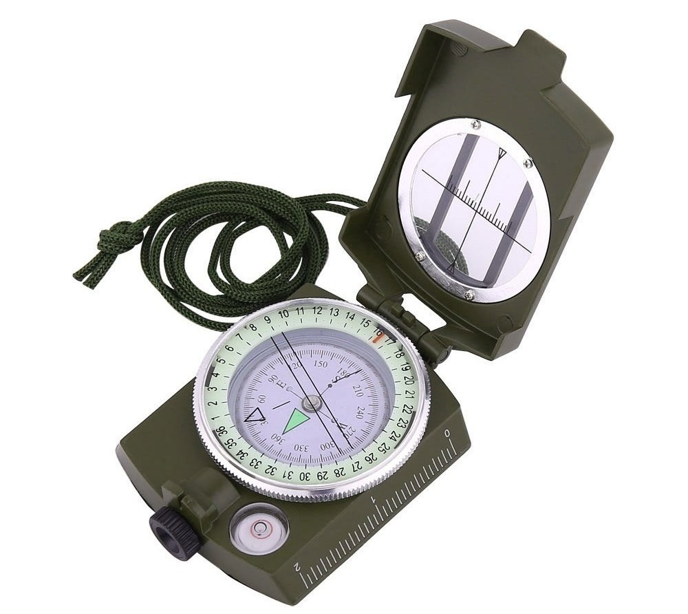 the compass with a lanyard on it