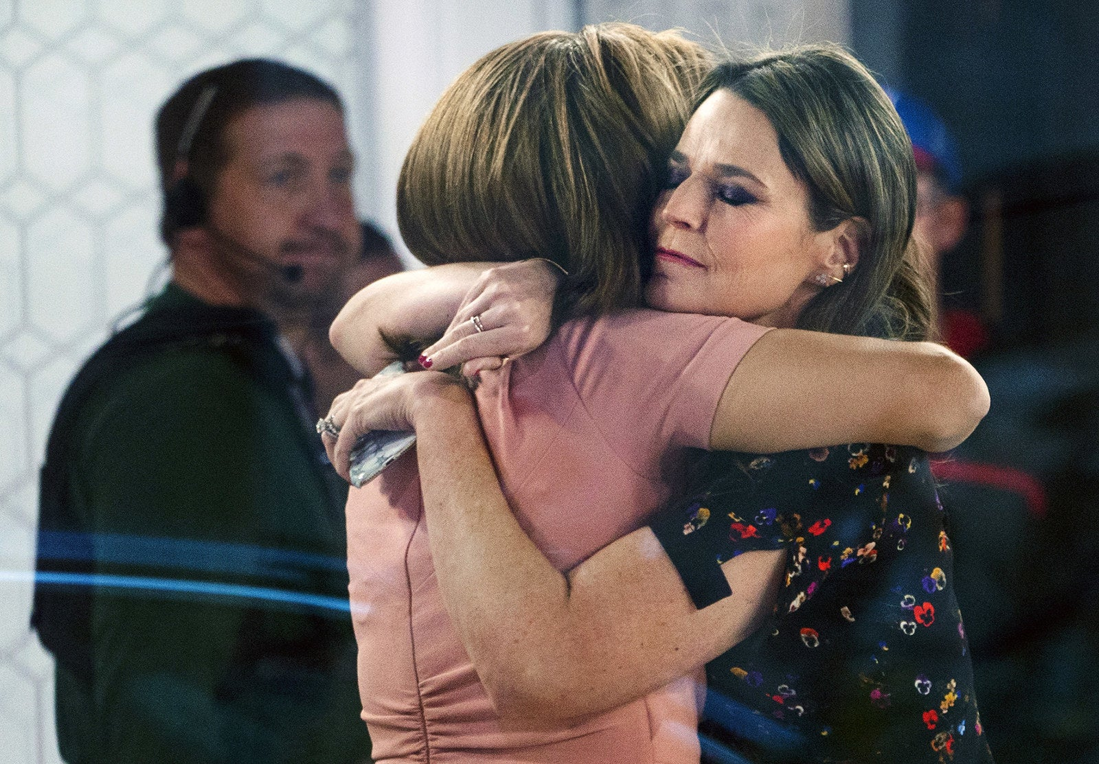 """Coanchors Hoda Kotb (left) and Savannah Guthrie (right) embrace on the set of the Today show on Nov. 29, in New York, after NBC News fired host Matt Lauer. NBC News announced that Lauer was fired for """"inappropriate sexual behavior."""""""