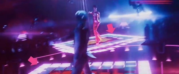 And the dance floor in this scene is an homage to Saturday Night Fever.