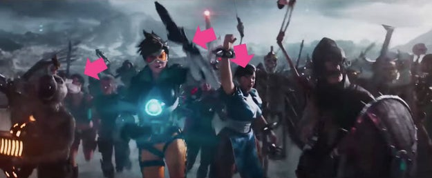 Another flash of the fight scene features Chun-Li from Street Fighter.