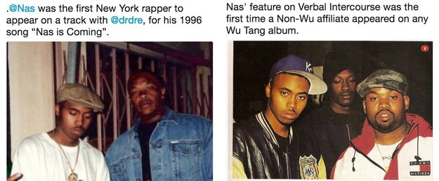 Nas was the first New York rapper to appear on a Dr. Dre song AND the the first member outside of Wu-Tang to appear on an album.