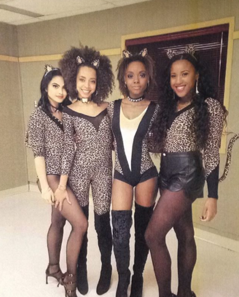 When the Pussycats and Camila rocked their catsuits on set.