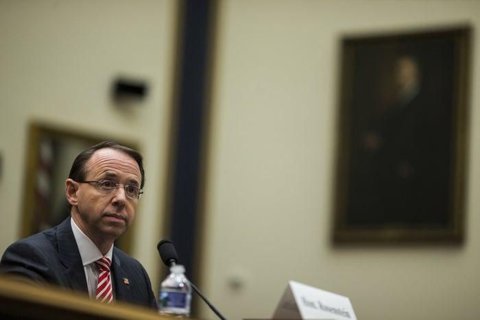 Deputy Attorney General Rod Rosenstein testifies before the House Judiciary Committee on Dec. 13.