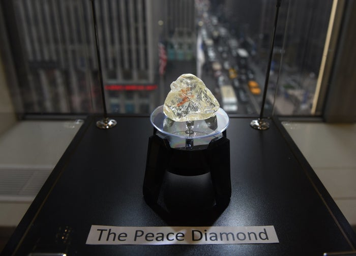 The Peace Diamond on display at the Rapaport Group on Dec. 4 in midtown New York.