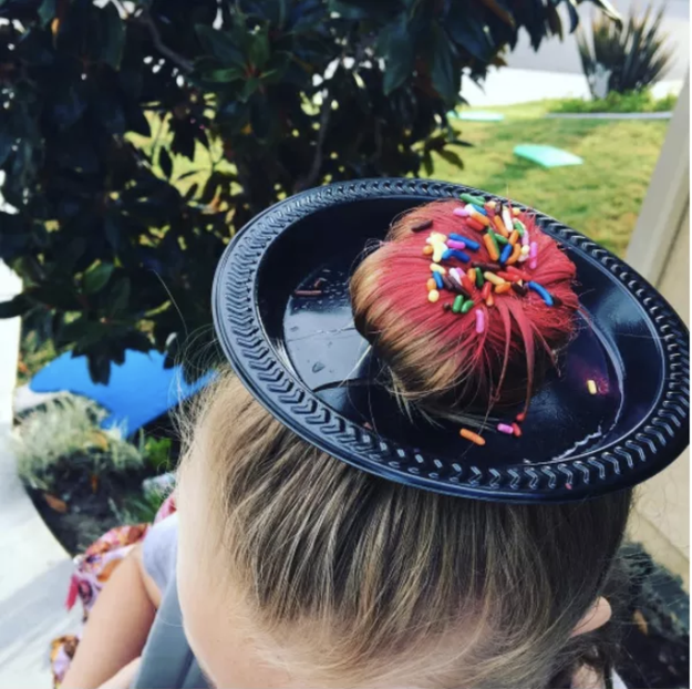 The mom who came up with this doughnut for her daughter's Crazy Hair Day: