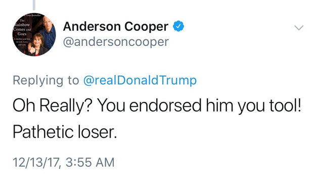"""Oh Really?"" said a reply posted from Cooper's account early Wednesday. ""You endorsed him you tool! Pathetic loser."""
