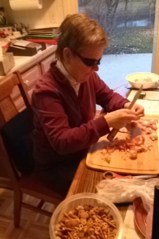 The mom who had the genius idea to wear swim googles when chopping onions: