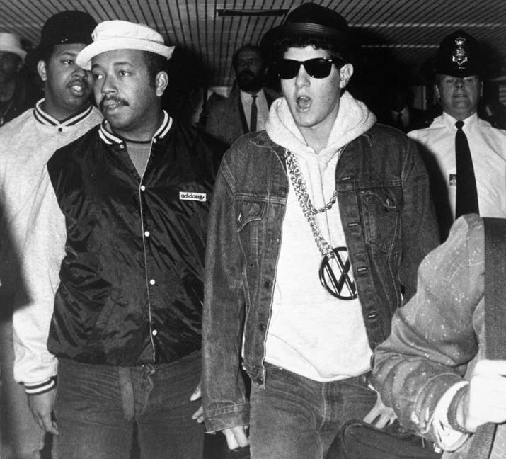 Mike D of the Beastie Boys (right) with Russell Simmons in London in 1987.
