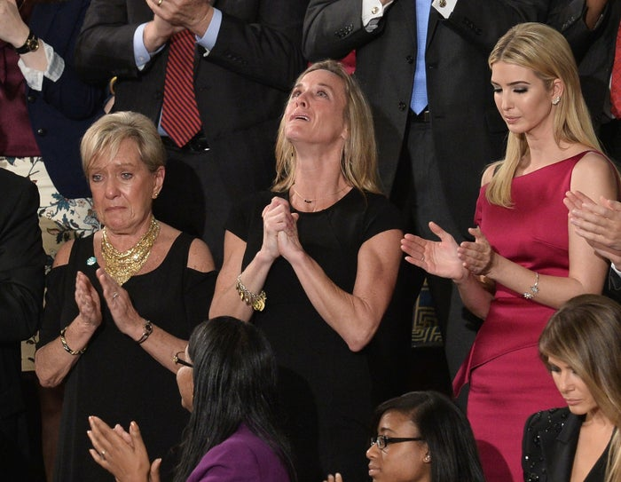 """Carryn Owens, wife of Chief Petty Officer William """"Ryan"""" Owens, was in the audience as Donald Trump addressed a joint session of Congress Feb. 28, 2017."""