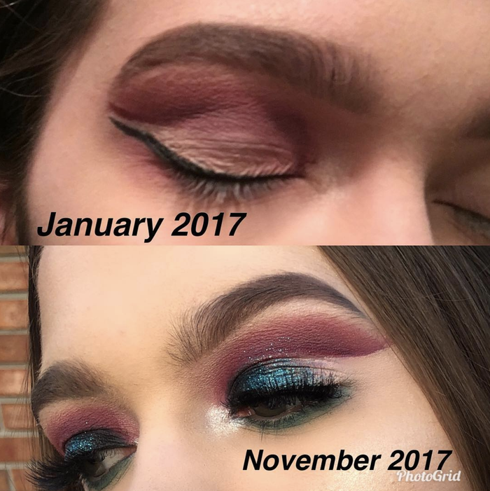 """""""I still have a lot of room to improve, but wow! Crazy what less than a year difference can make! This is with a lot of practice, dedication, and YouTube videos!! 😂 I hope this inspires someone to never give up💖 and to always keep doing what you love and follow your dreams!!!"""" —@samluvmua"""