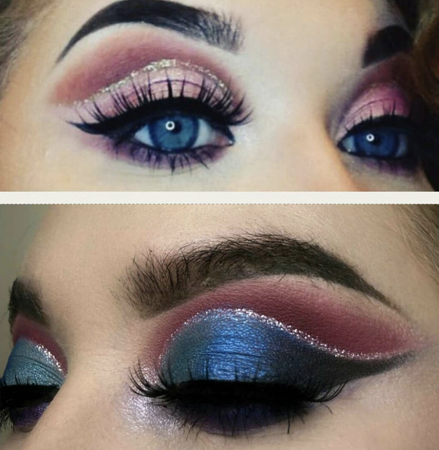 This sickening cut crease that's giving us glitter goals.