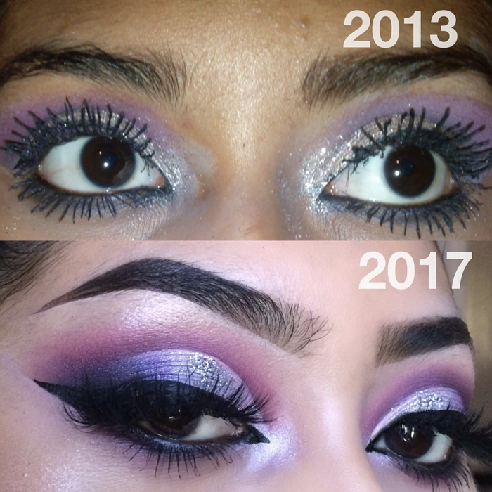 """""""Honestly, it's all about practice. I can't emphasis this enough. It's all about trial and error, learning what works best. The top picture is me at 16/17. At the time I remember being so proud of that look 😅 [...] So all I got to say is, if makeup is your passion, don't give up. 💖"""" —@meliysabel"""