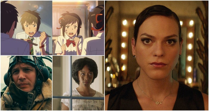 Clockwise from right: A Fantastic Woman, Get Out, Dunkirk, Your Name