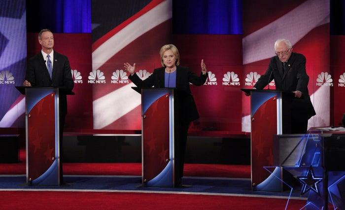 Martin O'Malley, Hillary Clinton, and Bernie Sanders at a debate in Charleston, South Carolina, in January 2016.