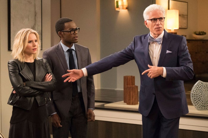 """2017 has frequently felt like being in the """"bad place"""" — thankfully, the show that gave us that term has been a thrillingly unique, endlessly entertaining distraction. I was hooked on The Good Place from the start, but the Season 1 finale that aired in January was a total game changer. Suddenly, this cute, quirky show announced itself as a subversive mindfuck that successfully fooled the vast majority of its audience. And Season 2 has continued to deliver on that promise, with a commitment to constantly resetting the rules. The cast — Kristen Bell, William Jackson Harper, Jameela Jamil, Manny Jacinto, Ted Danson, and D'Arcy Carden — form one of the best ensembles on television, and the consistently fresh material lets them stretch from week to week. It's rare to find a series that's this hard to predict, and even rarer to find one that is also warm, funny, and charming. —Louis Peitzman"""