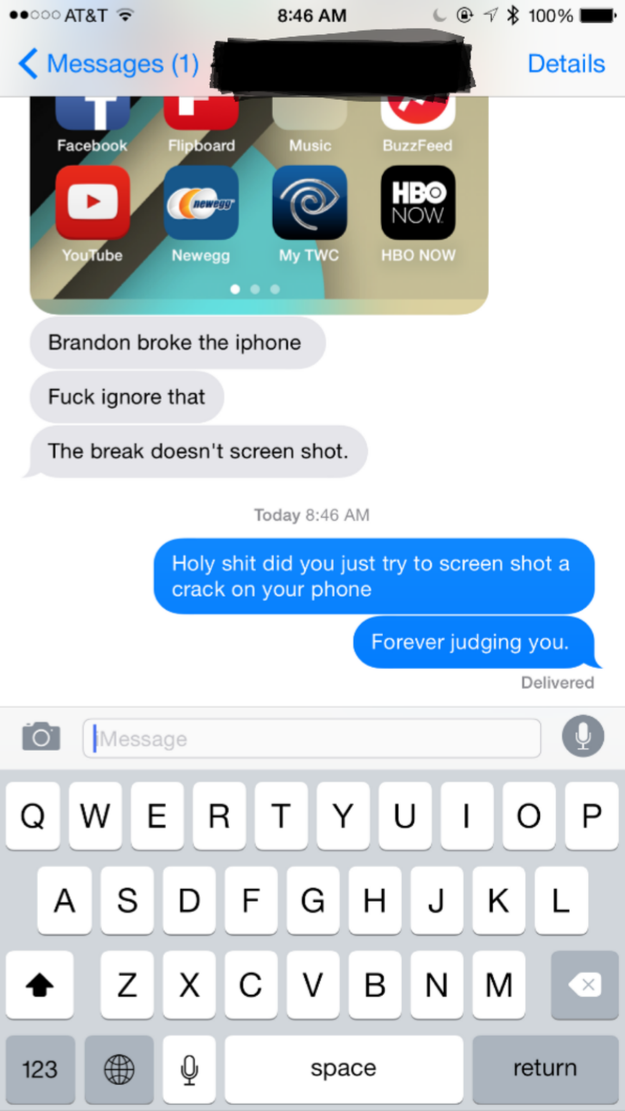 This poor guy who tried to show off his broken phone: