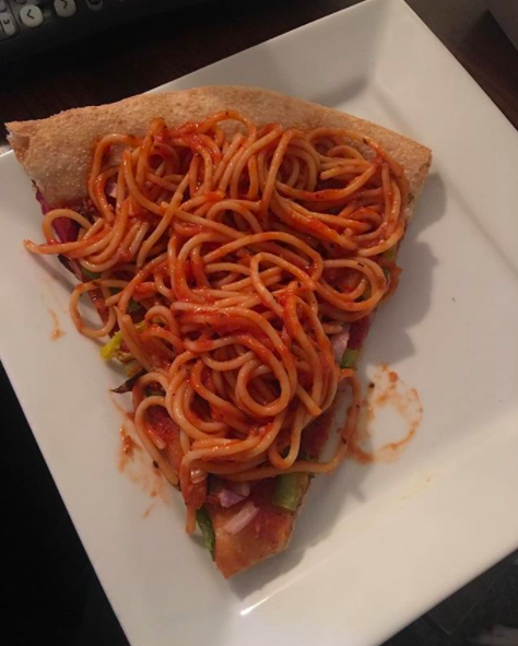 And this curious looking spaghetti slice.