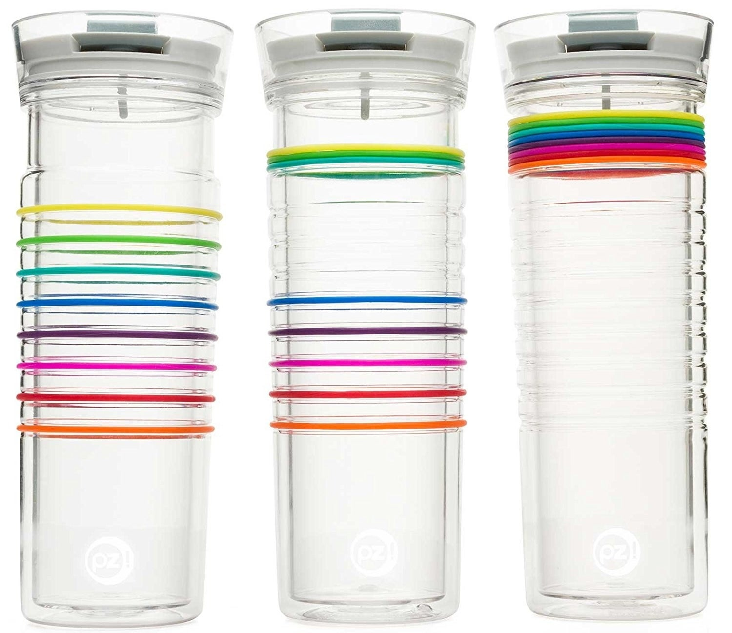 """Move a colorful band up every time you finish the water bottle. Refill it and repeat until you've reached your daily water intake goal. Promising Review: """"If you're like me and have a hard time getting in that daily requirement of water, you might want to try this water bottle! I loved seeing my progress through the day as I moved my bands up the bottle. The longer I have used them the more I have been able to drink throughout my day. I got these as a cyber Monday item and started out moving just two bands up and now I'm at 6! The double wall insulation keeps drinks nice and cold."""" —MagpieGet it from Amazon for $9.60+ (available in five colors)."""