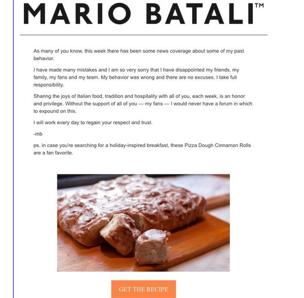 """The apology and """"fan favorite"""" recipe were sent via his newsletter."""