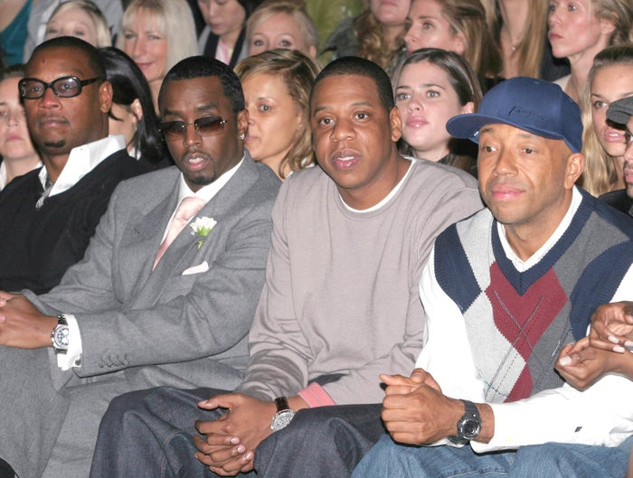 From left, Andre Harrell, the artist then referred to as P. Diddy, Jay-Z, and Russell Simmons at the fall 2005 collections during Fashion Week.