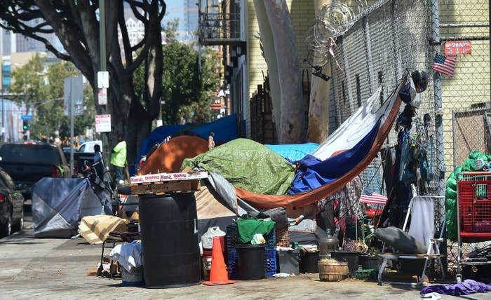 Homeless veteran Kendrick Bailey's tent near Skid Row in downtown Los Angeles, June 20.