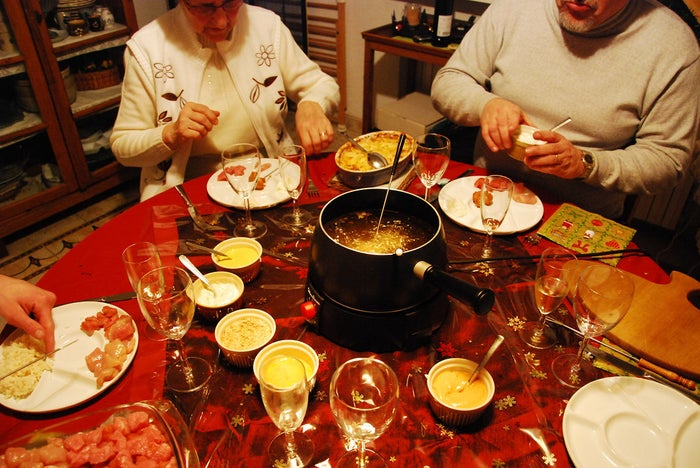 """""""In Switzerland we stick some meat pieces on a super-long fork and dip it in boiling bouillon soup to cook it, kind of like a hotpot! It's served with french fries or potato chips, and a variety of sauces for the meat.""""Submitted by twistley"""