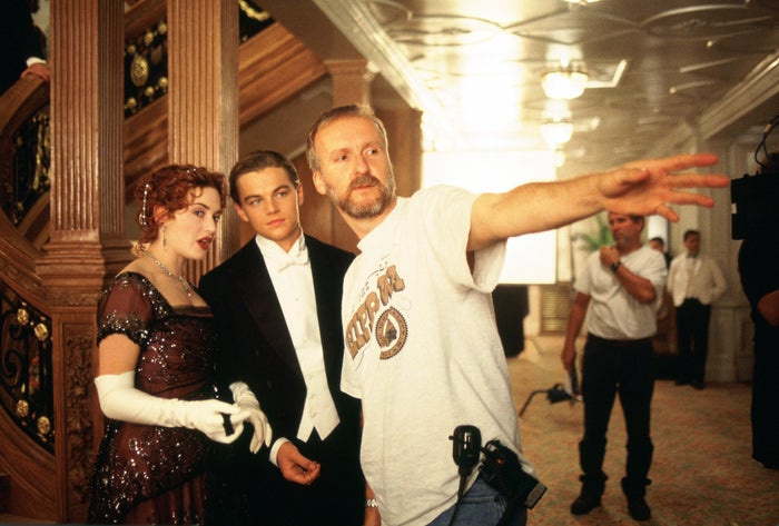 Kate Winslet, Leonardo DiCaprio, and director James Cameron on the set of Titanic.