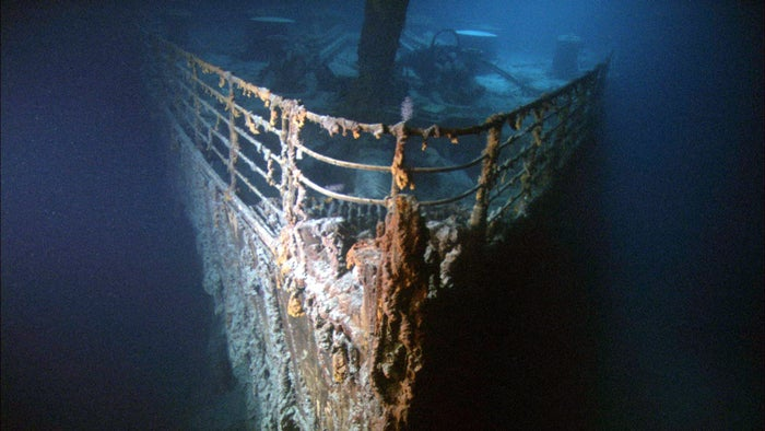 The bow of the Titanic, seen in the 2003 film Ghosts of the Abyss.