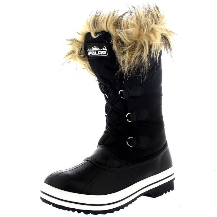 8e5feac15 A pair of waterproof snow boots with textured rubber soles so you can walk  right into puddles without any worry!