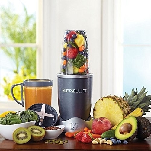 "Includes power base, 1 tall cup, 2 short cups, 1 flat blade and 1 emulsifying blade, 2 re-sealable lids, pocket nutritionist and manual with recipes. Has a high-torque power base and 600-watt motor.Promising review: ""Got this for my tennis player teenage son so he can fix himself a smoothie after practice. Gotta say it's the best smoothie maker I've ever used and I use it all the time, too. Completely foolproof (even for a teenager), put the stuff in and give it a twist and you have a smoothie in about 10-20 seconds. Powerful enough to crush ice or process frozen fruit. The parts screw together easily, even if you're a kid or your hands are a little wet or something. Easy to clean up, in fact we usually just rinse things out and wash them every second or third usage. There seems to be some kind of coating on the plastic to keep them clean so we hand wash everything, which I think also helps to keep the blades sharp."" —Uncle Long HairGet them from Amazon for $59.99."