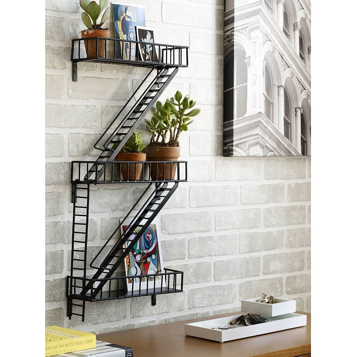 this fireescape shelf for the apartment dweller whou0027s sick of their landlord telling them they canu0027t keep potted plants on their real fire escape